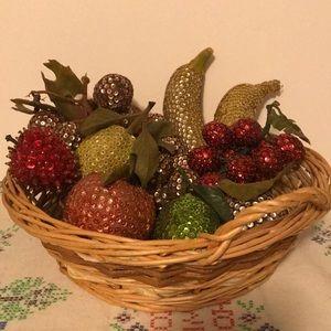 Vintage Handmade Beaded Fruit in Basket